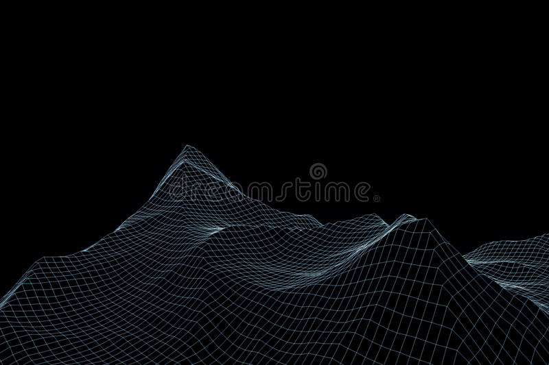 wireframe mountains mountain in wireframe hologram style nice 3d rendering 3378
