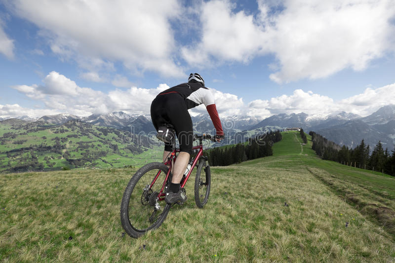 Mountainbike com vista fotografia de stock