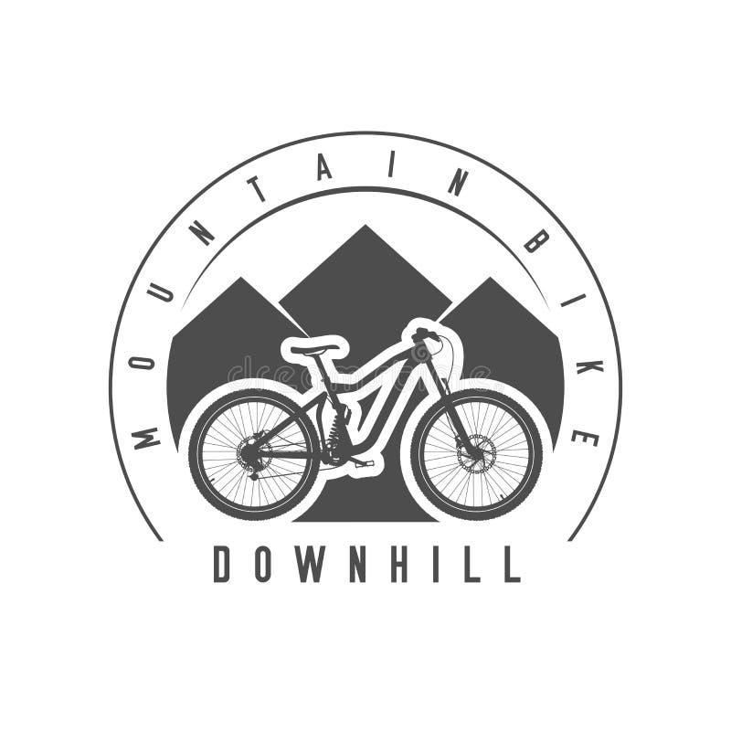 Mountainbike, sluttande emblem eller emblem Monokrom vektorillustration stock illustrationer