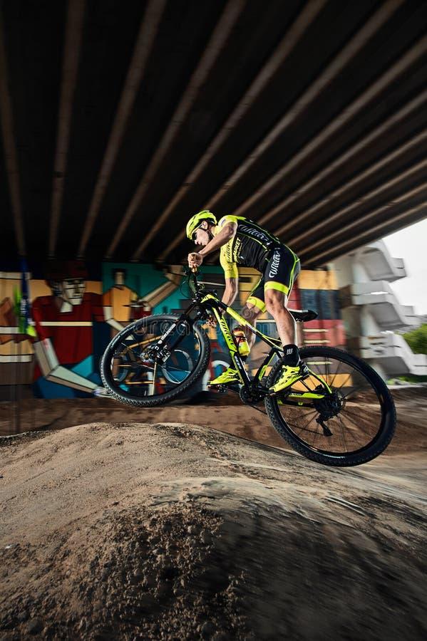 Mountainbikecyklist som gör wheeliejippo på en mtbcykel arkivfoto