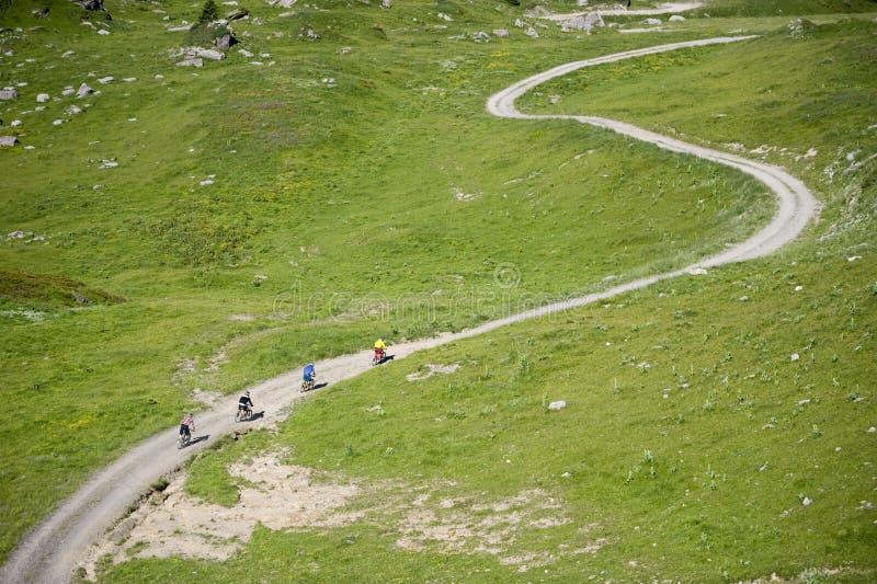 Mountainbiker骑马体育Freeride 免版税库存照片