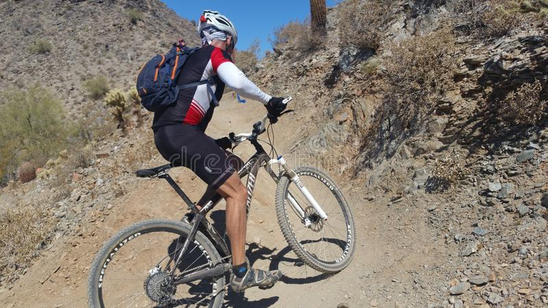 Mountainbikerreiten in der Wüste stockbilder