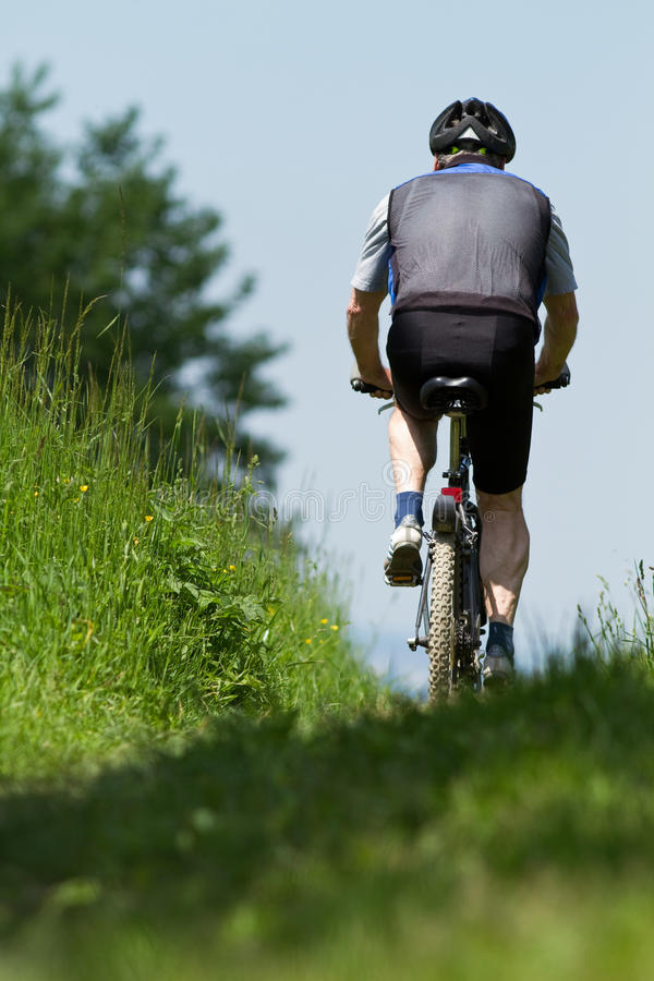Mountainbiking sênior foto de stock royalty free