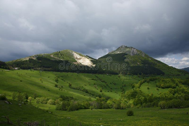 Mountaind verde che guarda sopra noi fotografia stock libera da diritti