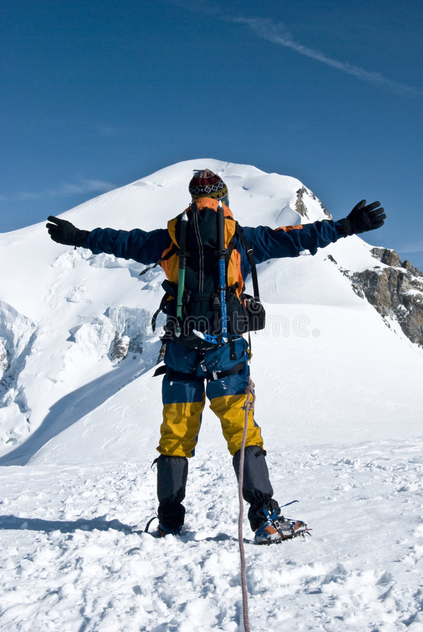 Free Mountaineer Embracing Peak Stock Photos - 6549773