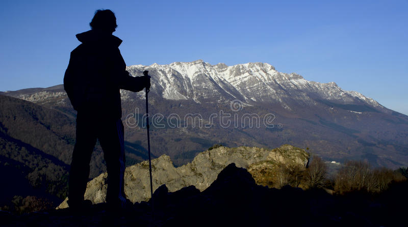 Mountaineer in the natural park of Aizkorri royalty free stock photos