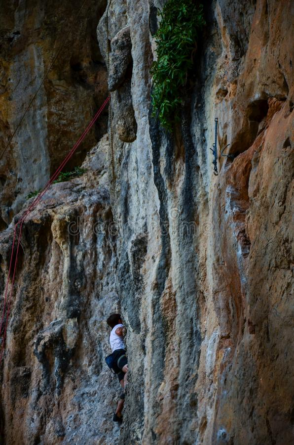Mountaineer in Phra Nang Cave Beach , railay Krabi, Thailand stock photo