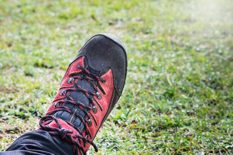 Mountaineers feet with trekking boots on green meadow stock photography