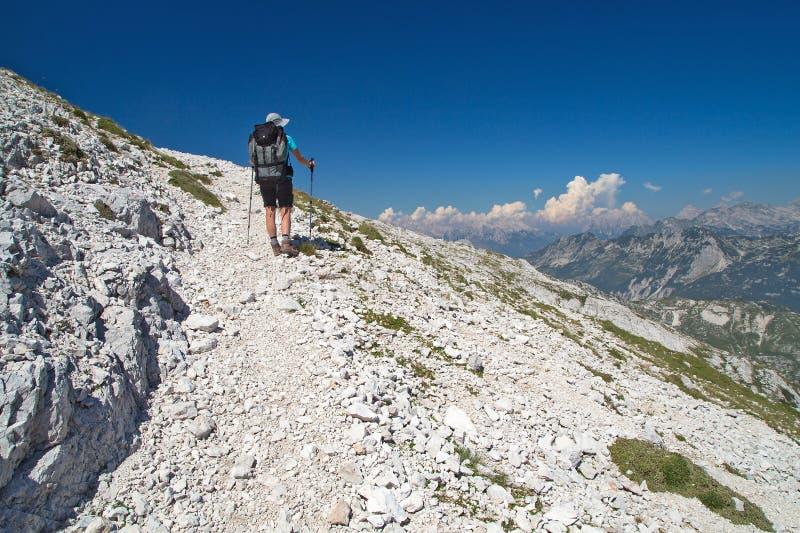 Mountaineer walking on the mountain Peski. Mountaineer on the march to the mountain Peski, Mountain Krn, Julian Alps, Slovenia stock images