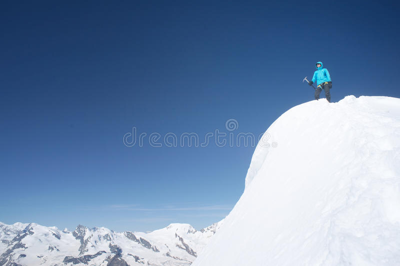 Mountaineer women on a summit royalty free stock photo