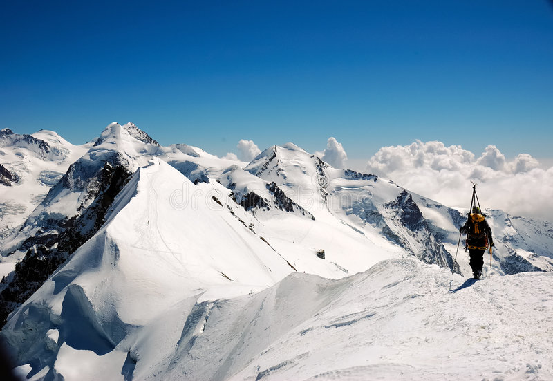 Mountaineering royalty free stock photography
