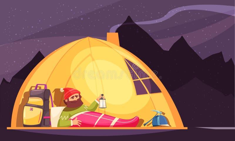 Mountaineering alpinistyki namiotu kreskówka ilustracja wektor