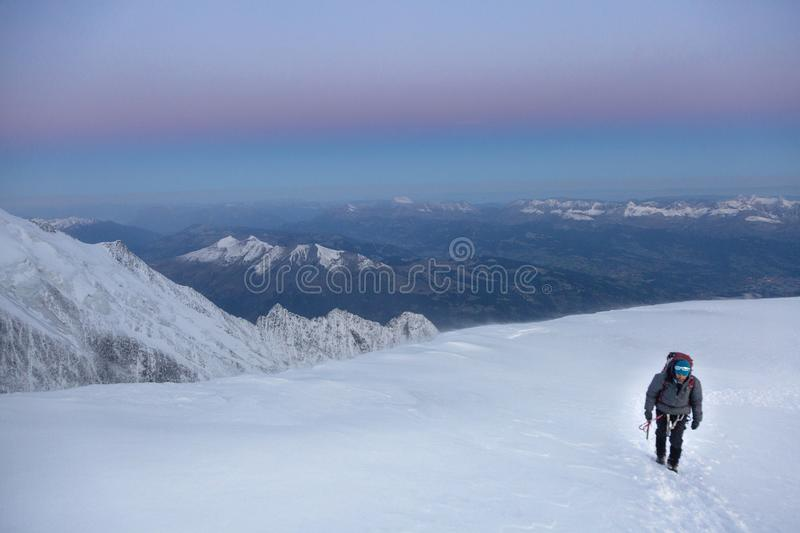Mountaineering ascending to the top in French Alps. Chamonix, France stock photography