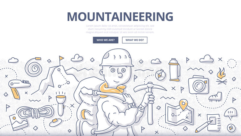 Mountaineering Doodle Concept stock illustration