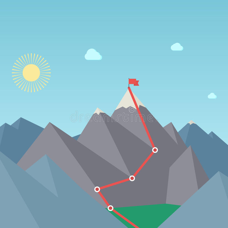 Mountaineering Route. Goal Achievement Concept. Vector royalty free illustration