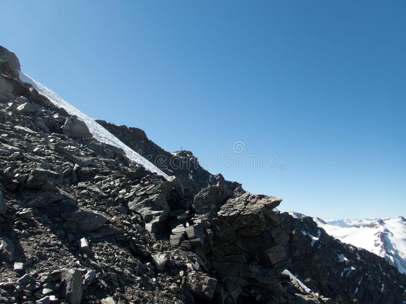 Mountaineering to the top of weisseespitze from kaunertal royalty free stock photos