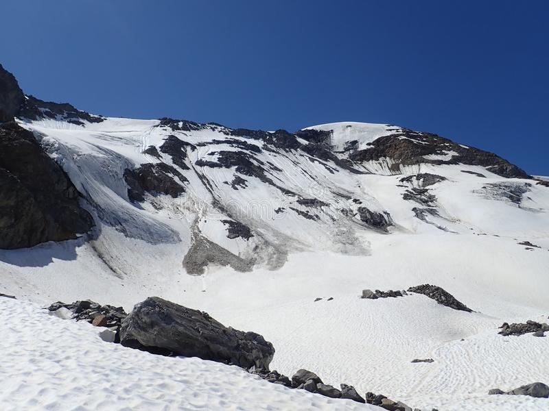 Mountaineering to the top of weisseespitze from kaunertal stock image