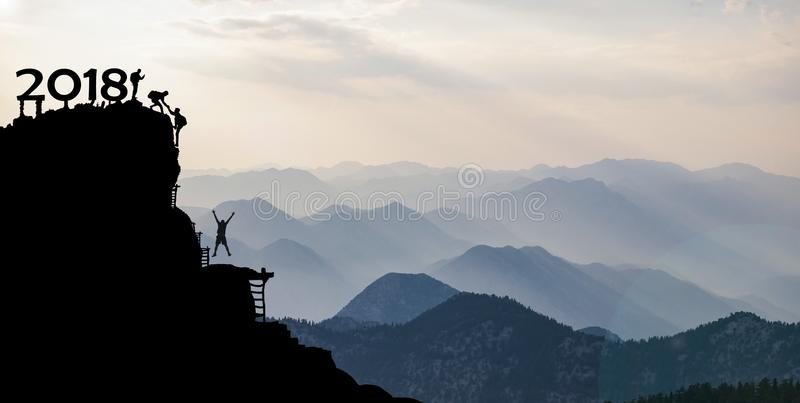 2018 with mountaineers on summit stock photography