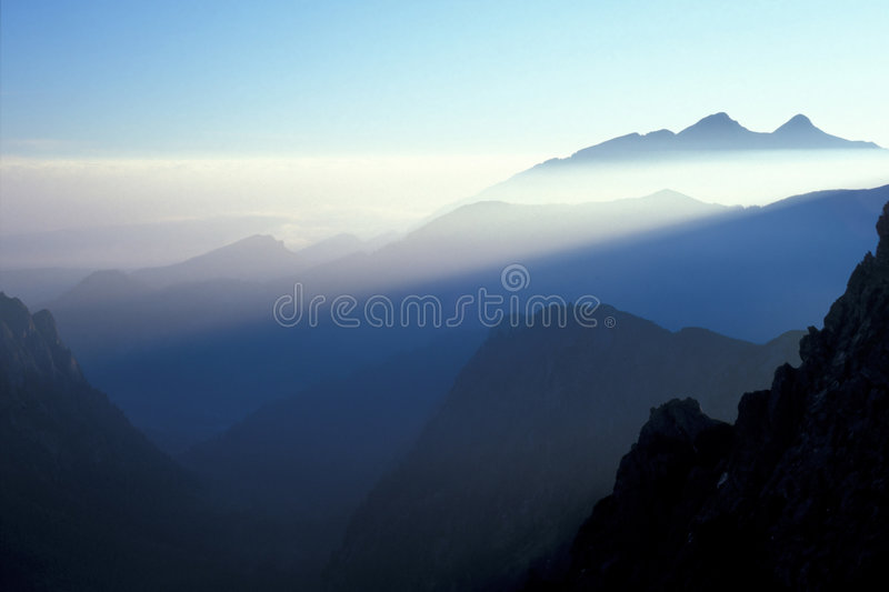 Mountainn morning. Morninglight in High Tatra Mountains in autumn, Poland royalty free stock photography