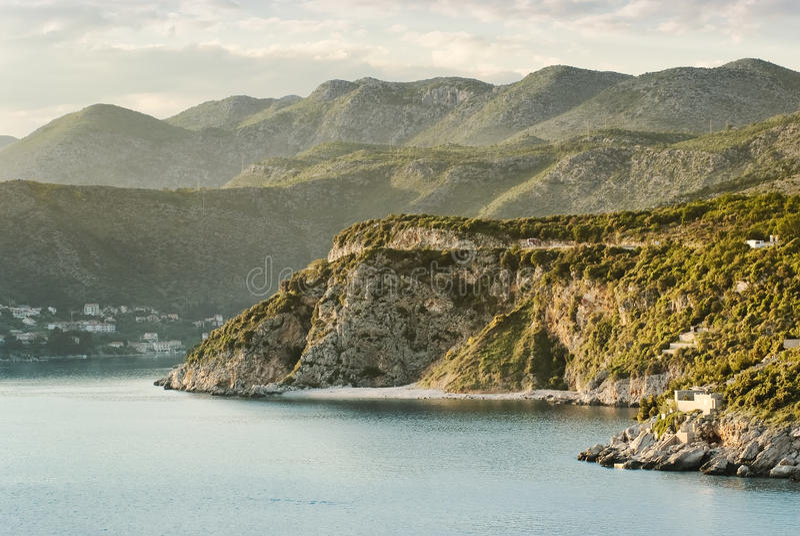 Mountainous coastline landscape near Dubrovnik stock photo