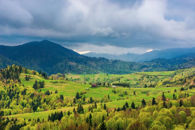 Mountainous countryside in springtime stock photography