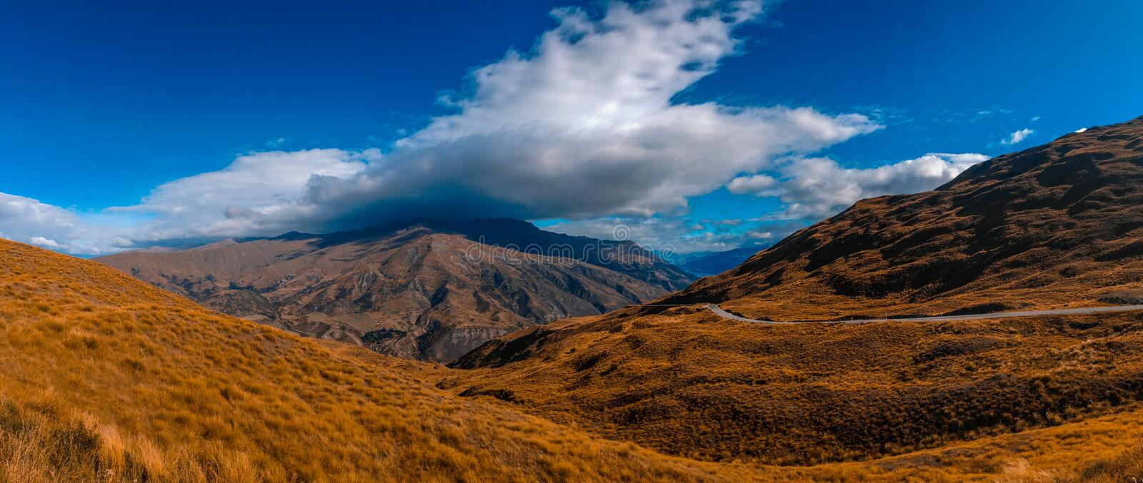Mountainous landscape near Queenstown in New Zealand stock photo