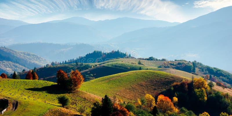 Mountainous rural landscape in autumn stock photography