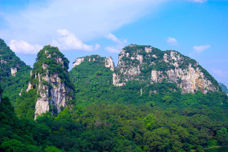 Mountains. Covered with green trees by the stone composition of the mountain royalty free stock images