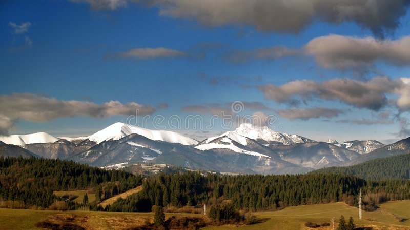 Mountains. And fields in Slovakia royalty free stock image