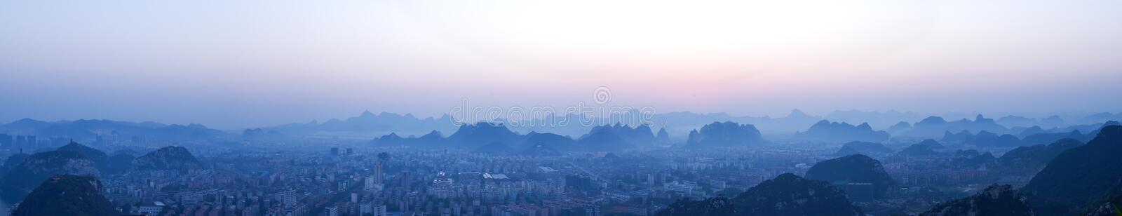 Mountains. Dawn, in the mountains shrouded in mist stock image