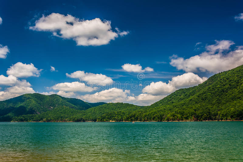 Mountains along the shore of Watauga Lake, in Cherokee National. Forest, Tennessee royalty free stock images