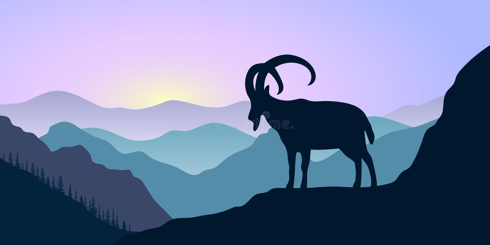 Mountains, alpine ibex and forest at sunrise. landscape with silhouettes royalty free illustration
