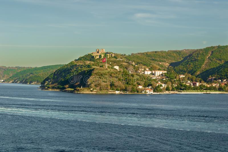 Mountains of Anadolu Kavagi with Ruins of Yoros Castle, Bosphorus, Istanbul, Turkey. Day shot of mountains of Anadolu Kavagi with Ruins of Yoros Castle -Yoros stock images