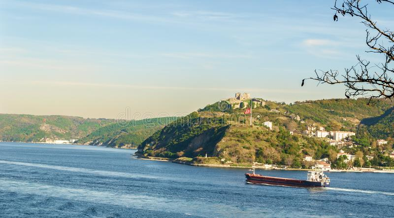 Mountains of Anadolu Kavagi with Ruins of Yoros Castle, Bosphorus, Istanbul, Turkey. Day shot of mountains of Anadolu Kavagi with Ruins of Yoros Castle -Yoros royalty free stock photography