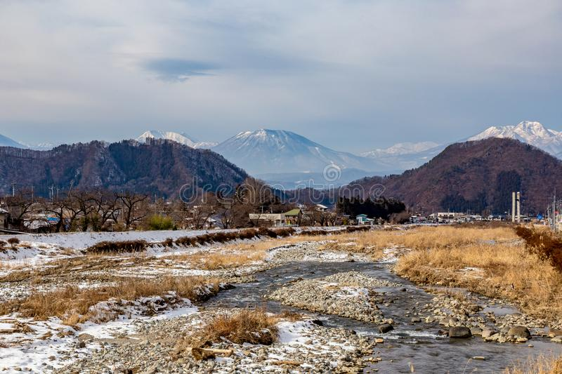 Mountains around Yamanouchi, Nagano. The mountains seen from Yamanouchi, Nagano Prefecture, Japan. Nagano is well known for the mountains, winter sports, and stock images