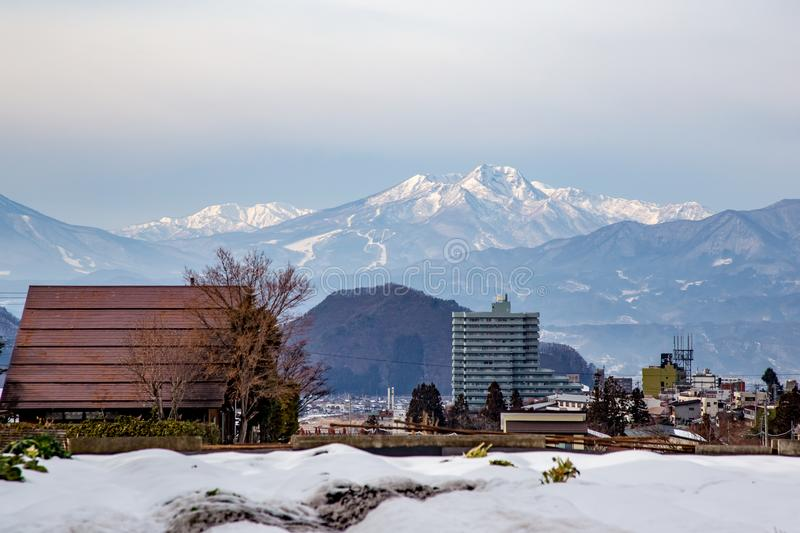 Mountains around Yamanouchi. The mountains seen from Yamanouchi, Nagano Prefecture, Japan. Nagano is well known for the mountains, winter sports, and beautiful royalty free stock photos