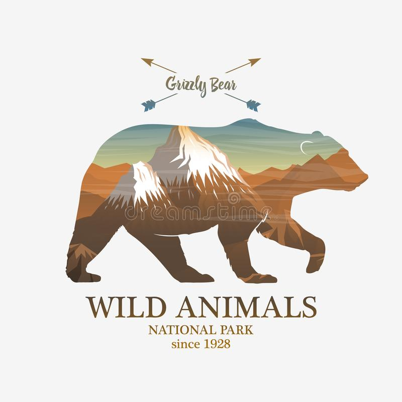 Mountains and bear, silhouette wild animal. Multiple or double exposure. Old label or badge. Journey, travel by nature. Badge or emblem, logo or label for your royalty free illustration