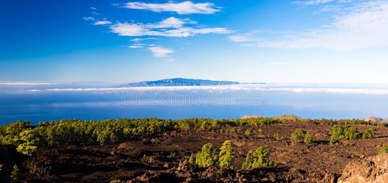 Mountains beautiful inspirational landscape, islands and ocean. Mountains beautiful inspirational landscape view, islands and ocean, Canary Islands La Gomera royalty free stock photography