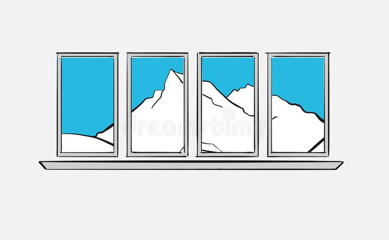 Mountains behind windows. Longing for the mountains royalty free illustration