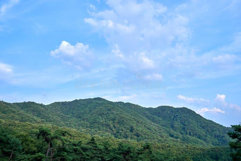 Mountains and the blue sky of Jechun, South Korea stock photo