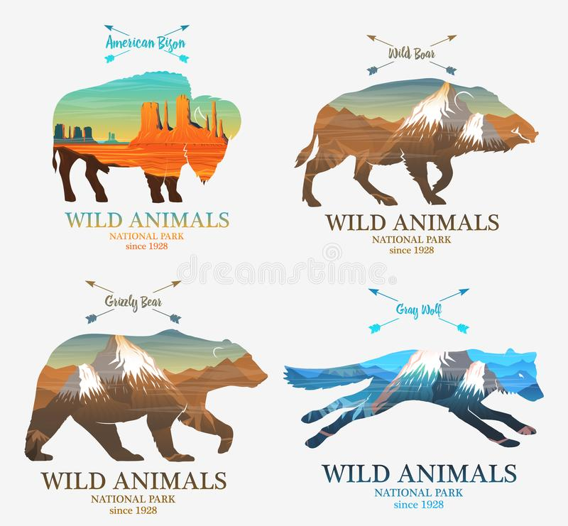 Mountains and boar, bear, fox, buffalo silhouette wild animal. Multiple or double exposure. Old label or badge. Journey. Travel by nature. Badge or emblem stock illustration