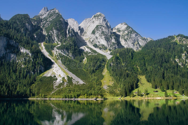Mountains bordering a lake