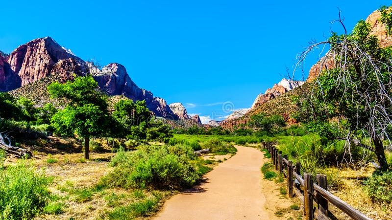 Mountains at the Pa`rus Trail which follows along and over the meandering Virgin River in Zion National Park in Utah. Mountains at both sides of the Pa`rus Trail royalty free stock photography