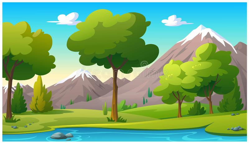 Mountains and bright sky in the morning stock illustration