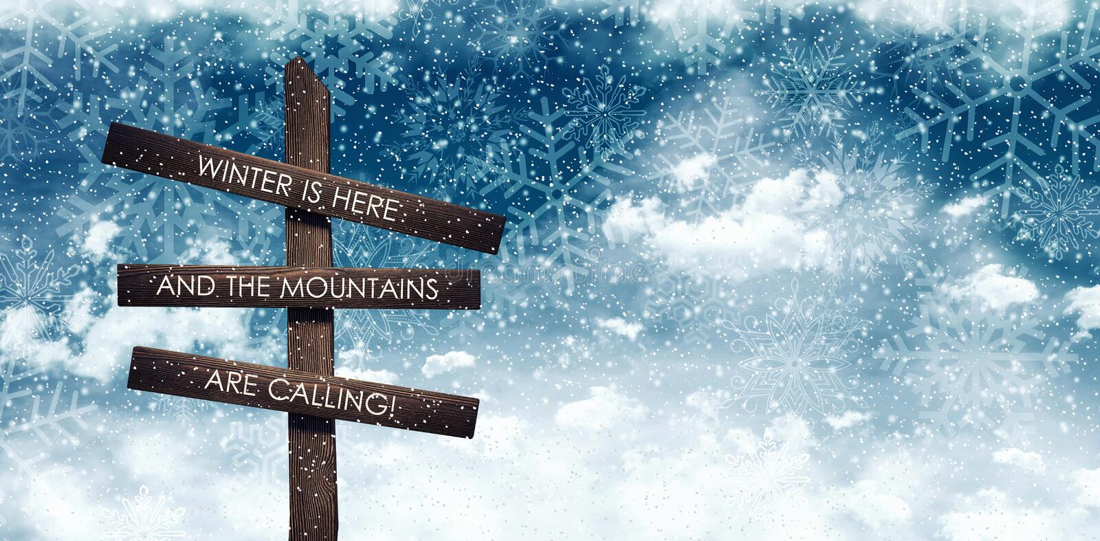 Mountains calling sign under night blue snowy sky stock illustration