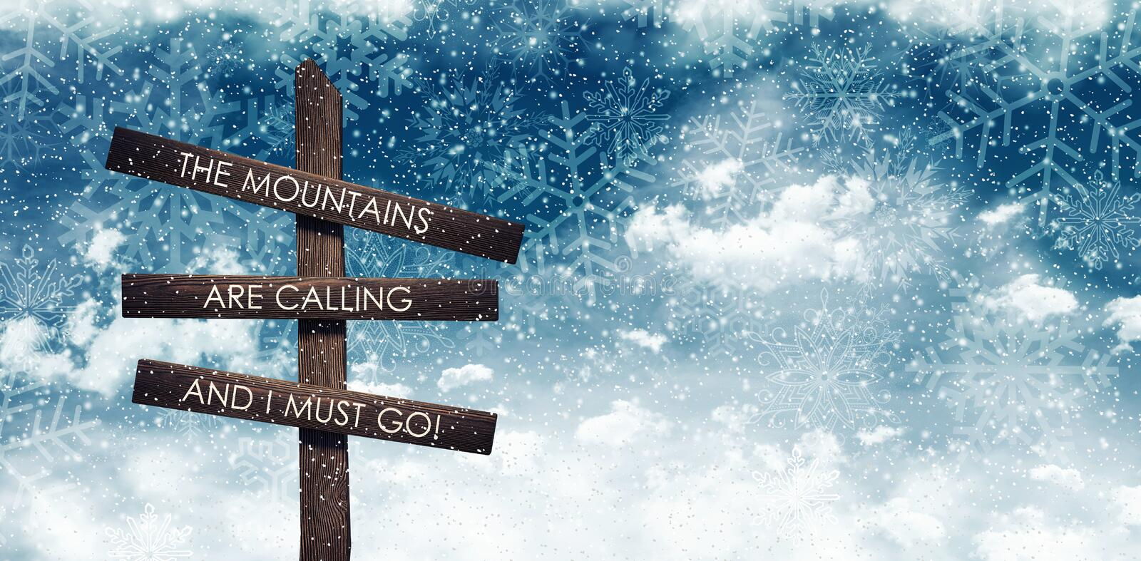 Mountains calling sign under night blue snowy sky royalty free illustration