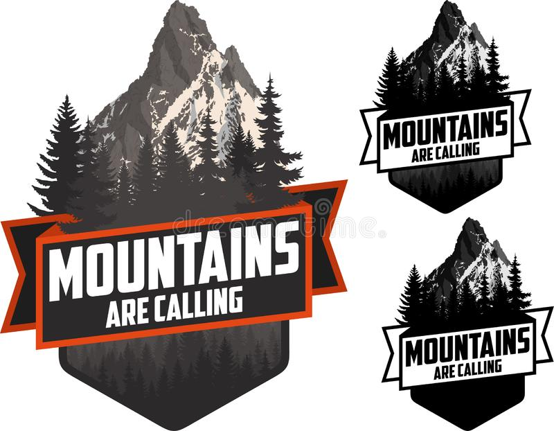 The Mountains Are Calling. vector Outdoor Adventure Inspiring Motivation Emblem logo royalty free illustration