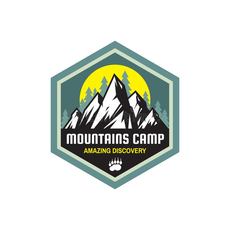 Mountains camp amazing discovery - concept badge. Summer camping emblem. Climbing logo in flat style. Extreme exploration sticker. Symbol. Adventure outdoors vector illustration