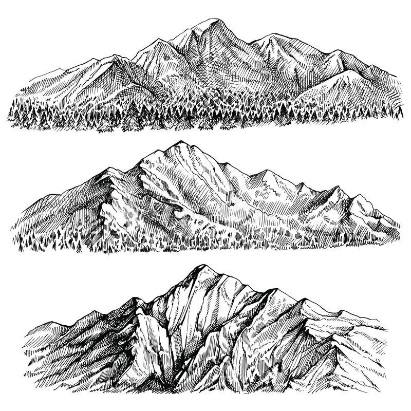 Mountains peak vector hand drawn landscape. Ridge and ranges with forest panoramic view. vector illustration