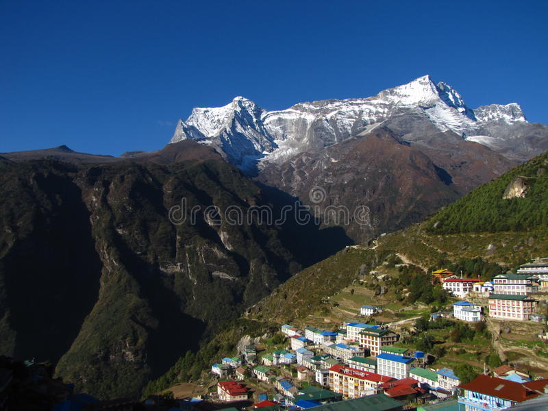 The mountains city. The mountains in Nepal Himalayas royalty free stock photo